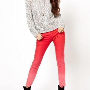 Free People Red Ombre Skinny Jeans